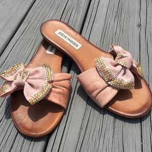 Steve Madden Brenna Leather Slide Sandal Pink Bow